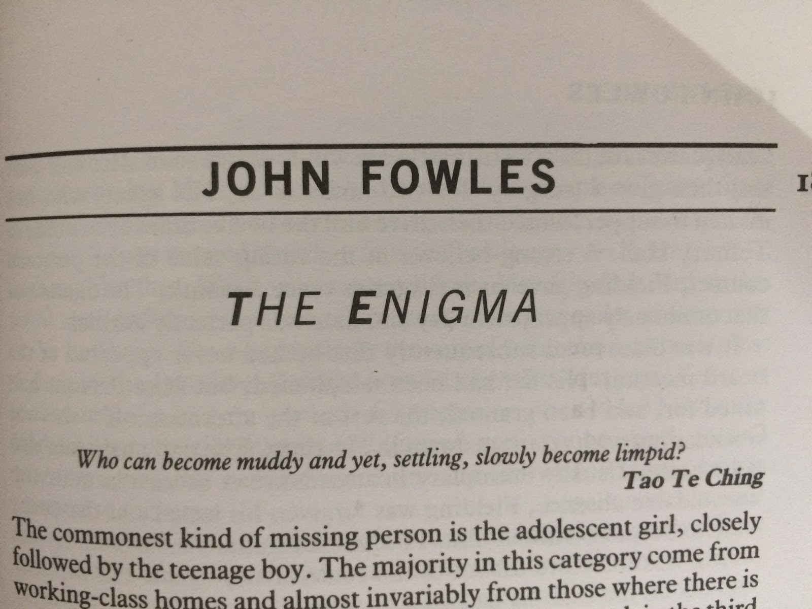 The Enigma by John Fowles